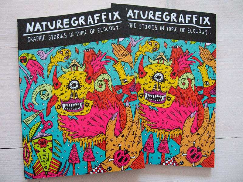 """NATUREGRAFFIX"" volume #1, cover. Graphic stories in topic of ecology."